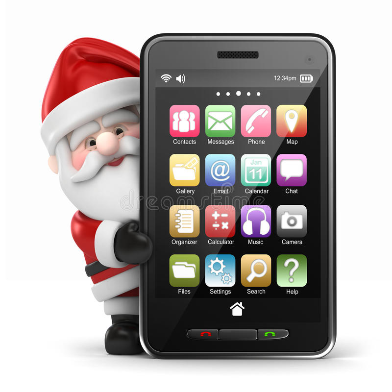 Papá Noel que sostiene un teléfono elegante grande stock de ilustración