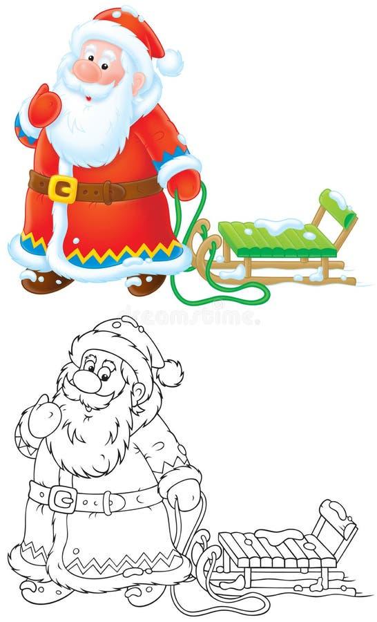 Papá Noel que tira de un trineo ilustración del vector