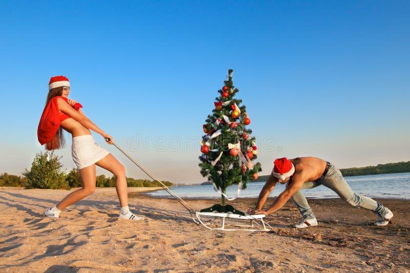 Papá Noel que tira del árbol de navidad imagen de archivo libre de regalías