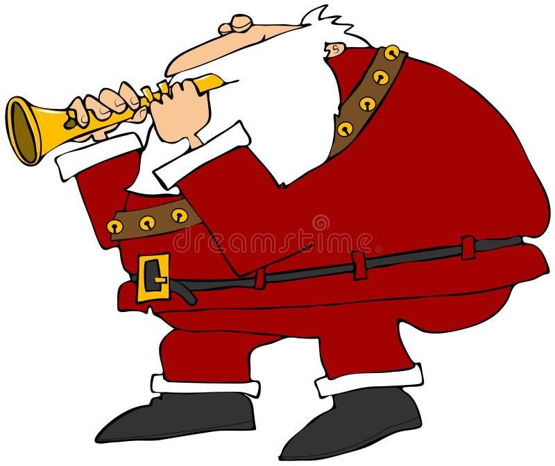 Papá Noel que toca una flauta stock de ilustración