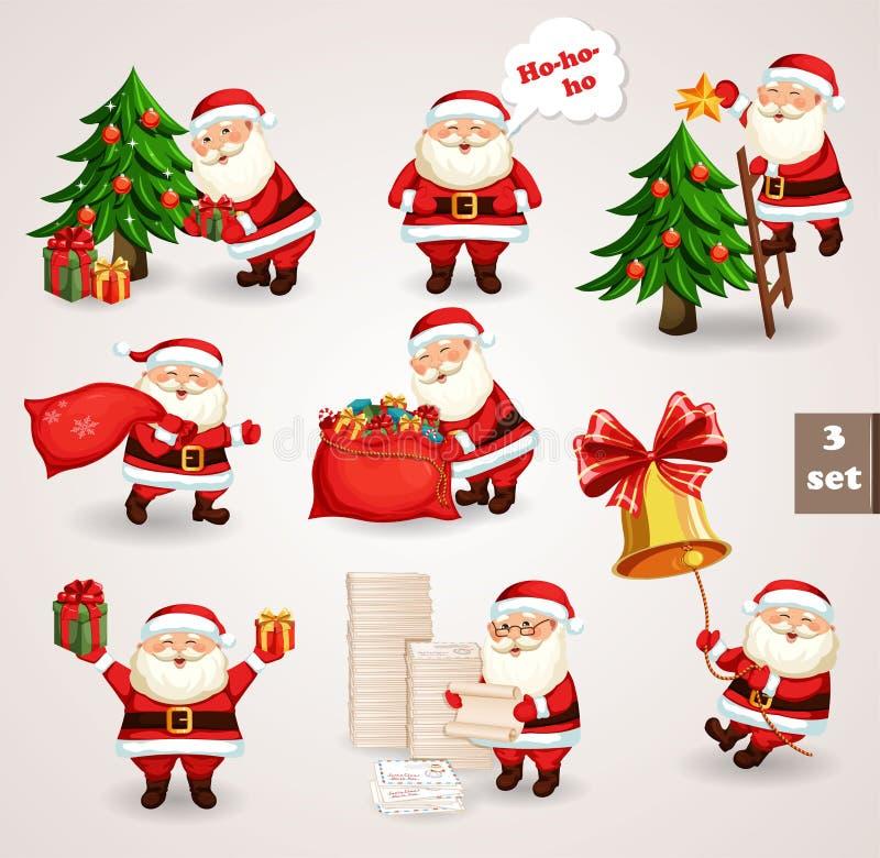 Papá Noel que va a la Navidad de la celebración stock de ilustración