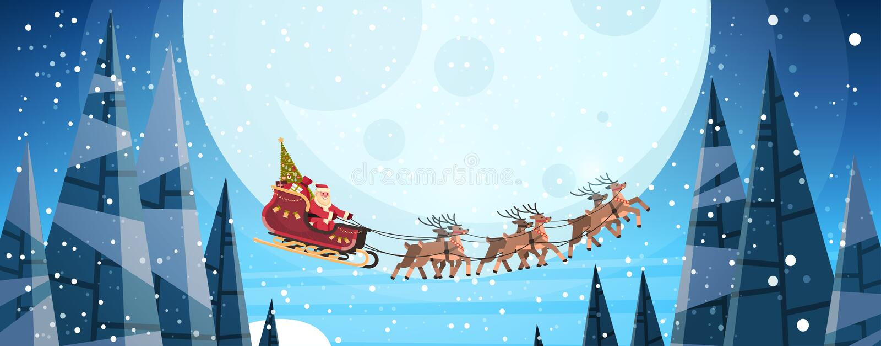 Papá Noel que vuela en trineo con el cielo nocturno de los renos durante invierno horizontal de la Feliz Año Nuevo de la Feliz Na libre illustration
