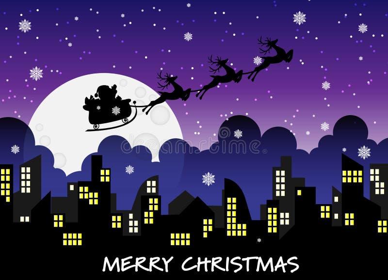 Papá Noel que vuela en un trineo con el reno en silueta del horizonte de la ciudad en el cielo nocturno stock de ilustración