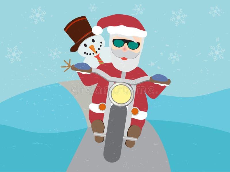 Papá Noel retro en la motocicleta con el muñeco de nieve plano ilustración del vector
