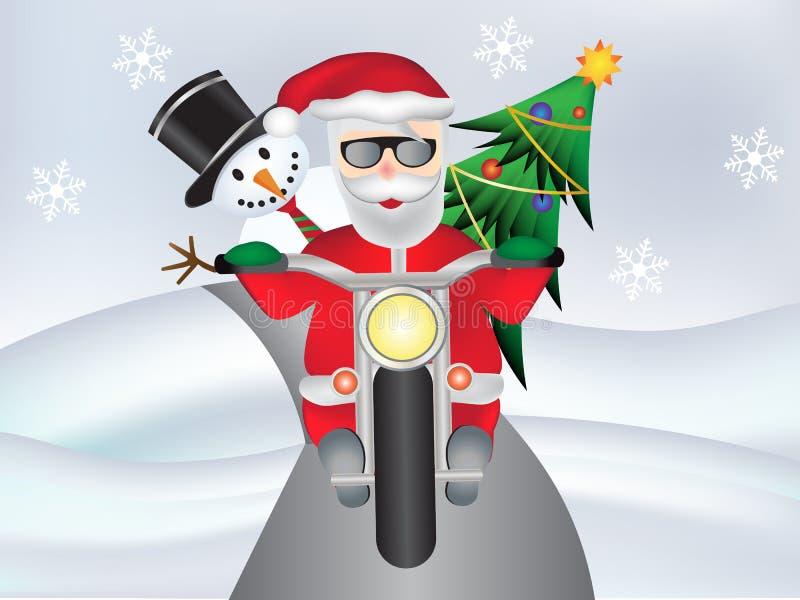 Papá Noel retro en la motocicleta con el muñeco de nieve y el árbol de navidad lindos ilustración del vector