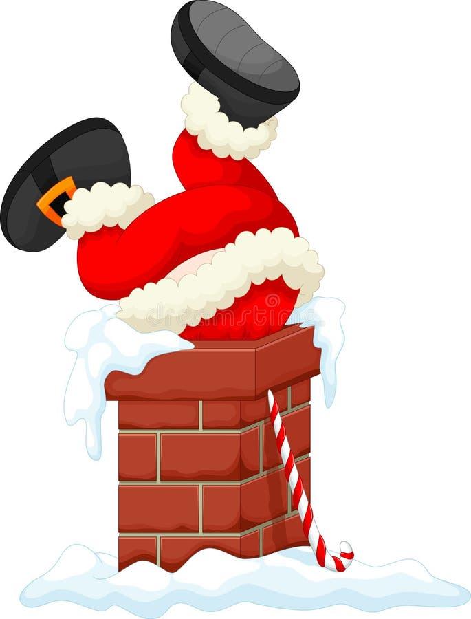 Papá Noel se pegó en la chimenea ilustración del vector