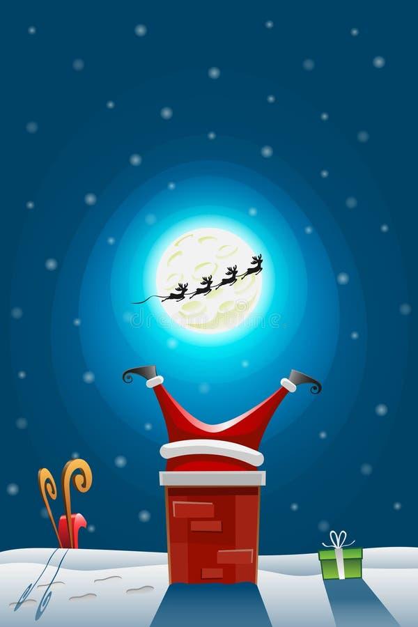 Papá Noel se pegó en la chimenea - renos funcionados con lejos - trineo y los regalos caen abajo ilustración del vector