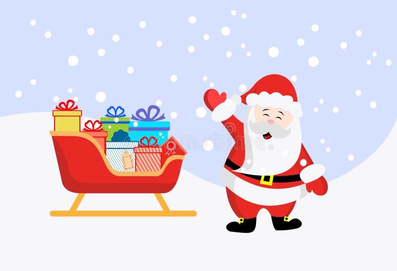 Papá Noel _2 Trineo con los regalos Año Nuevo y la Navidad Ilustración común del vector ilustración del vector