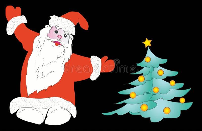 Papá Noel y árbol de navidad ilustración del vector