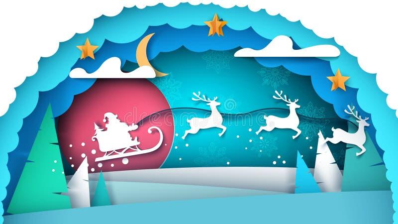 Papá Noel y árbol de navidad Feliz Navidad ilustración del vector