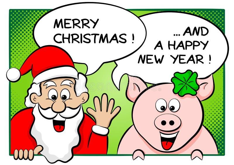 Papá Noel y cerdo afortunado con las burbujas del discurso libre illustration