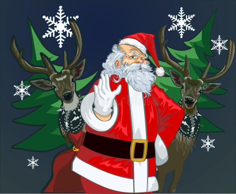 Papá Noel y ciervos imagen de archivo