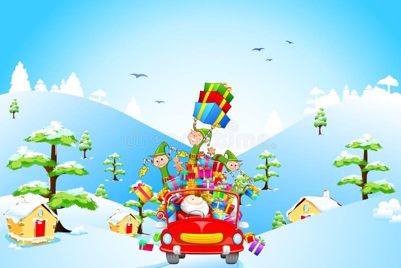 Papá Noel y duende con el regalo de la Navidad stock de ilustración