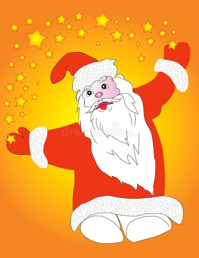 Papá Noel y estrellas ilustración del vector