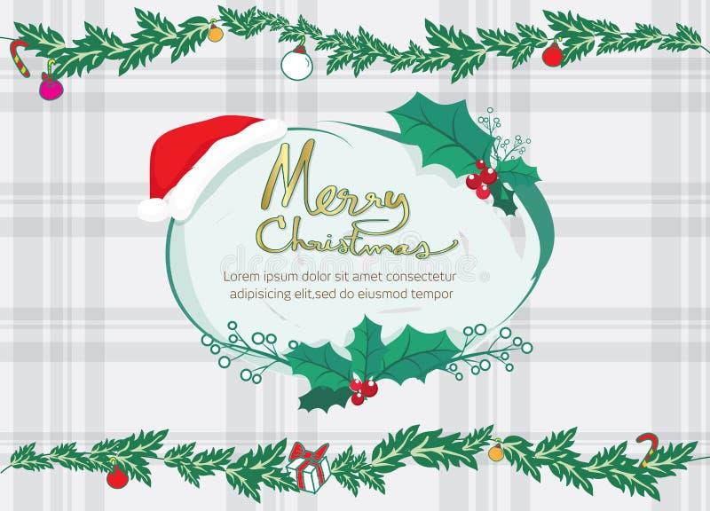 Papá Noel y marco del vuelo y de texto del reno, texto franco de la Feliz Navidad ilustración del vector