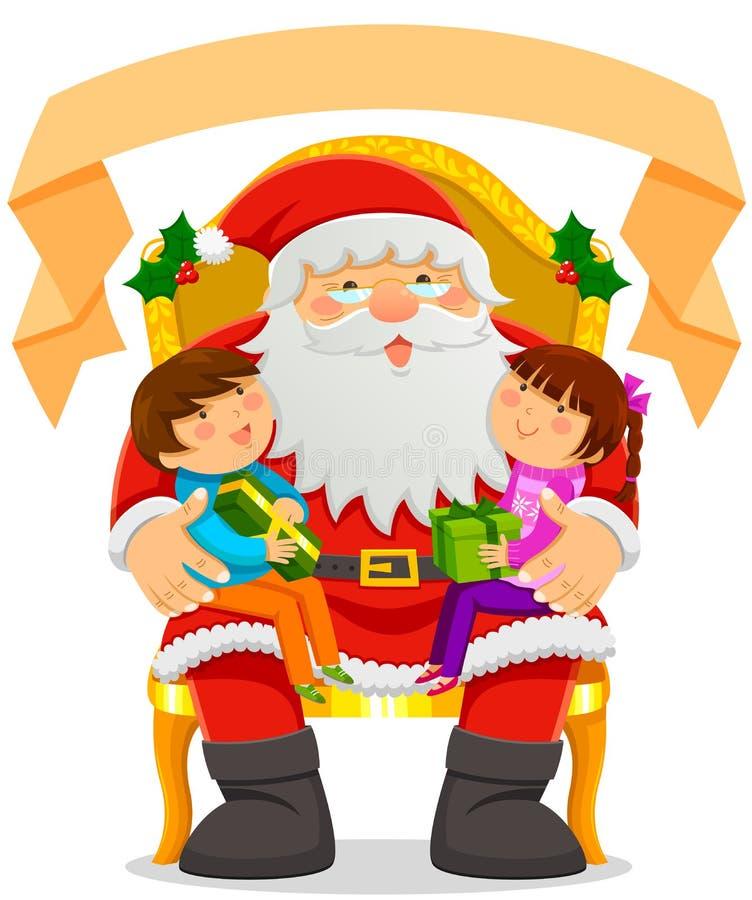 Papá Noel y niños ilustración del vector