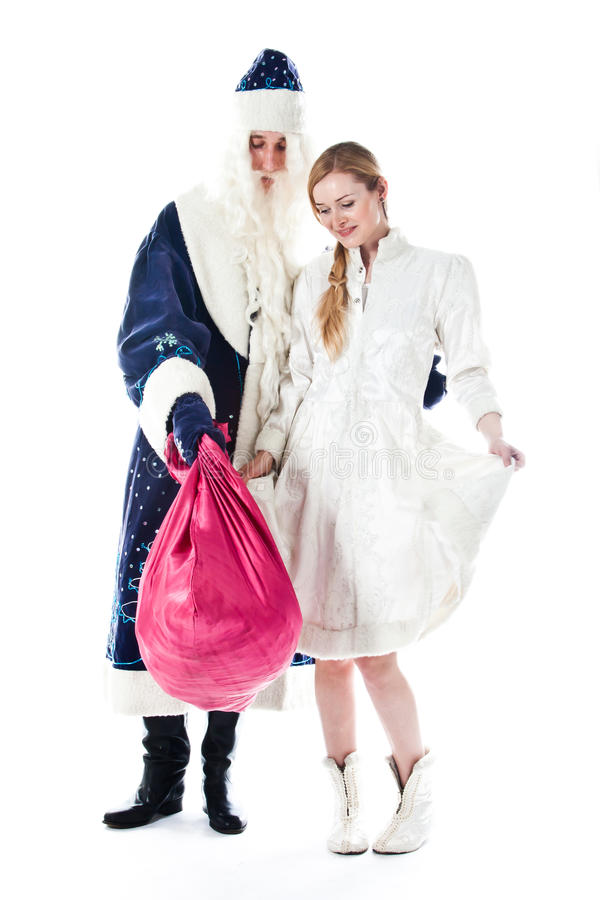 Papá Noel y nieta imagen de archivo libre de regalías