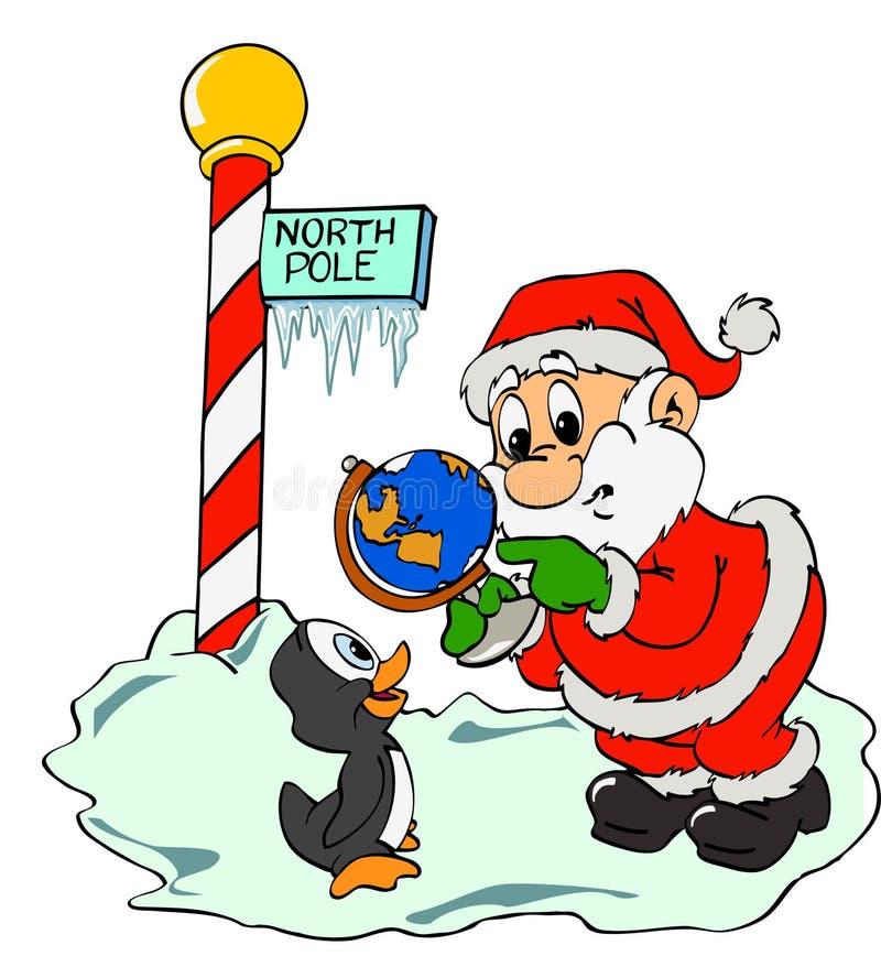 Papá Noel y pingüino perdido stock de ilustración