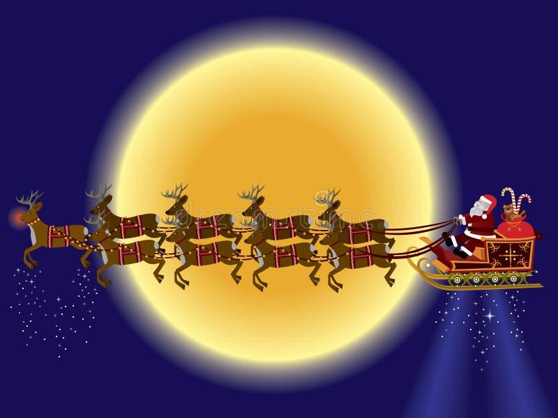 Papá Noel y reno stock de ilustración