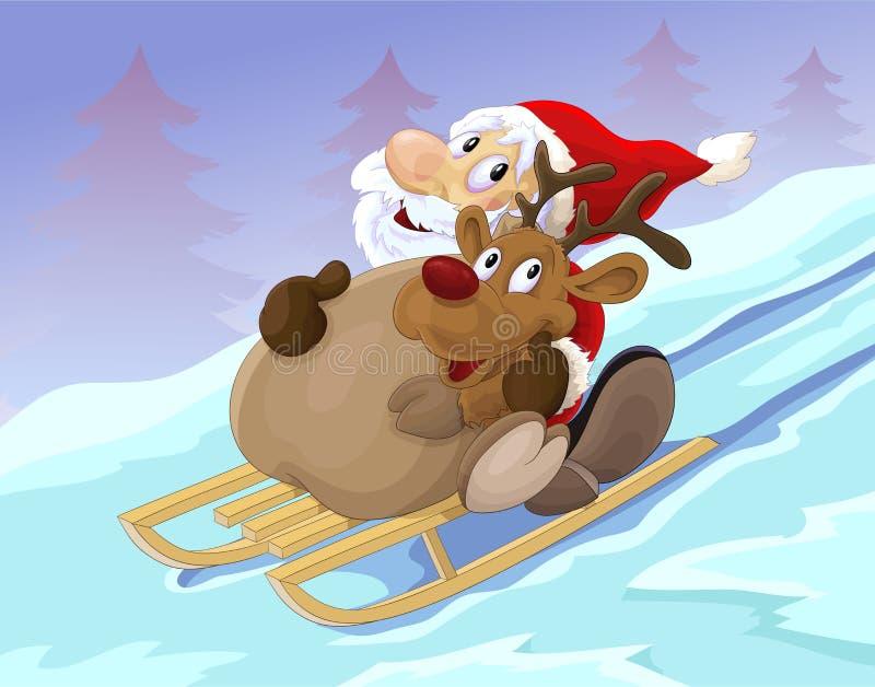 Papá Noel y reno en el trineo ilustración del vector