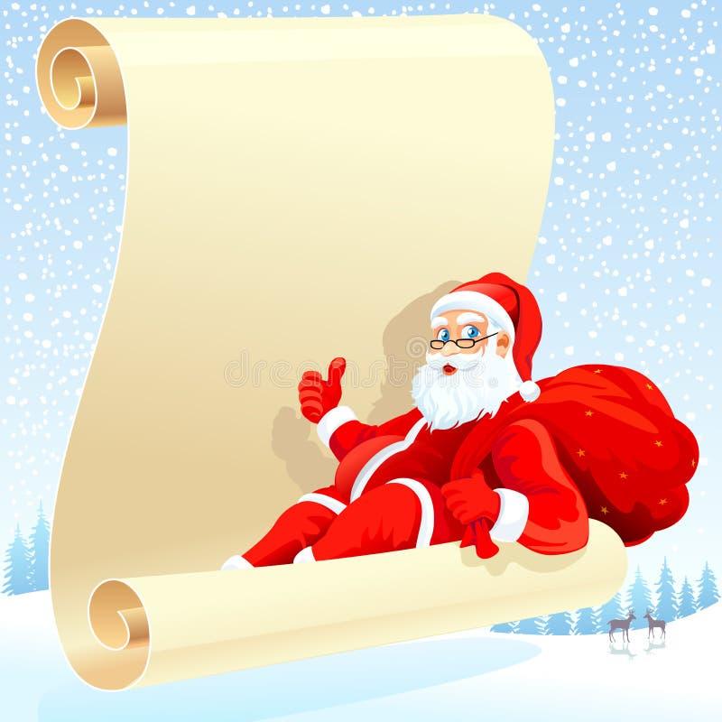 Papá Noel y su lista de objetivos ilustración del vector