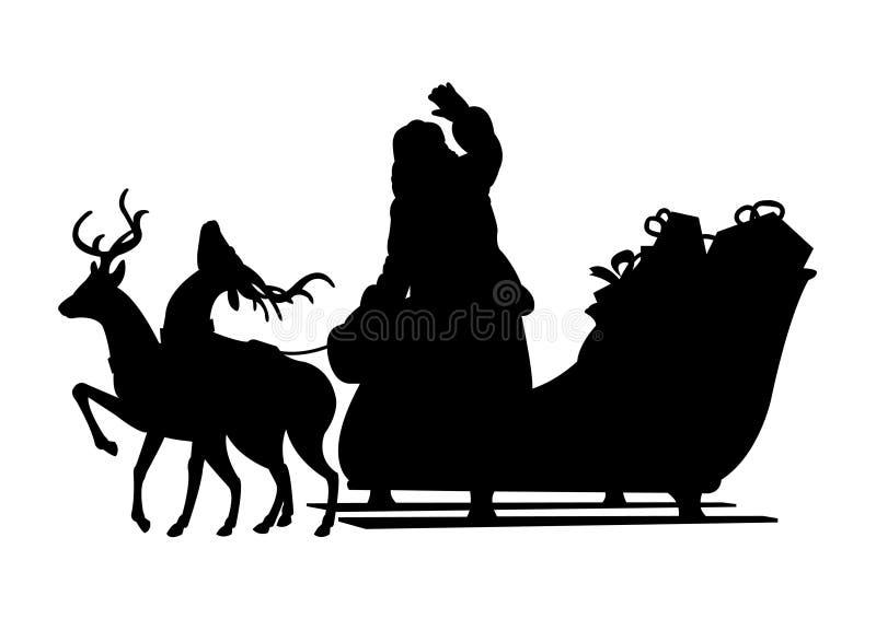 Papá Noel y su silueta del negro del trineo stock de ilustración