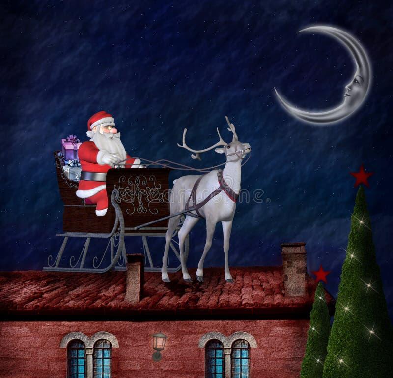 Papá Noel y su trineo en un tejado stock de ilustración