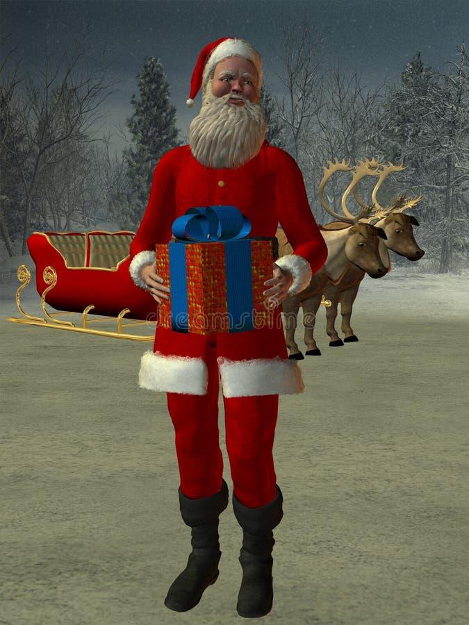 Papá Noel y trineo libre illustration