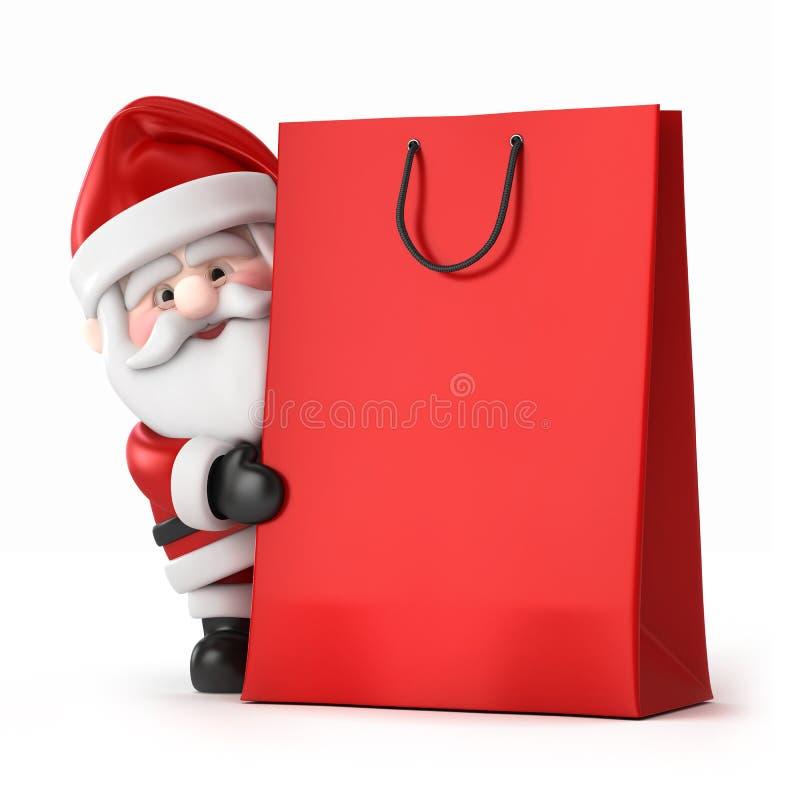 Papá Noel y un bolso de compras ilustración del vector