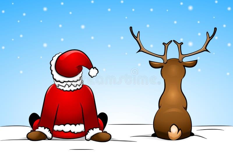 Papá Noel y un reno stock de ilustración
