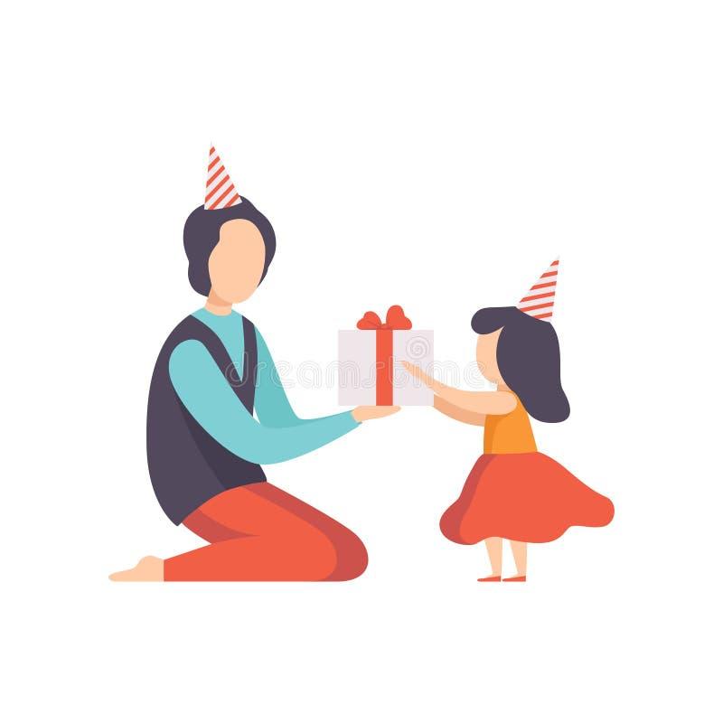 Papá que da la caja de regalo adornada con el arco rojo a su pequeña hija, niño de la cinta que celebra el ejemplo del vector del ilustración del vector