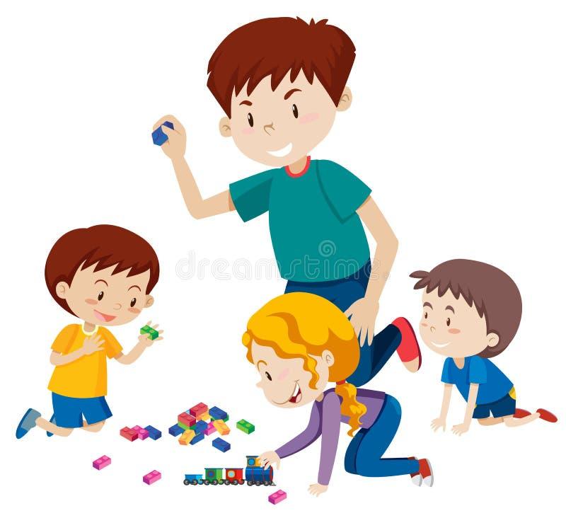 Papá que juega bloques con sus niños libre illustration