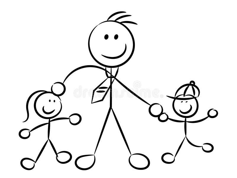 Papá que juega con los caracteres incompletos ingenuos de los niños aislados libre illustration
