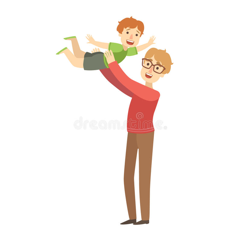 Papá que lanza al pequeño hijo en el aire, ejemplo de la serie cariñosa feliz de las familias libre illustration