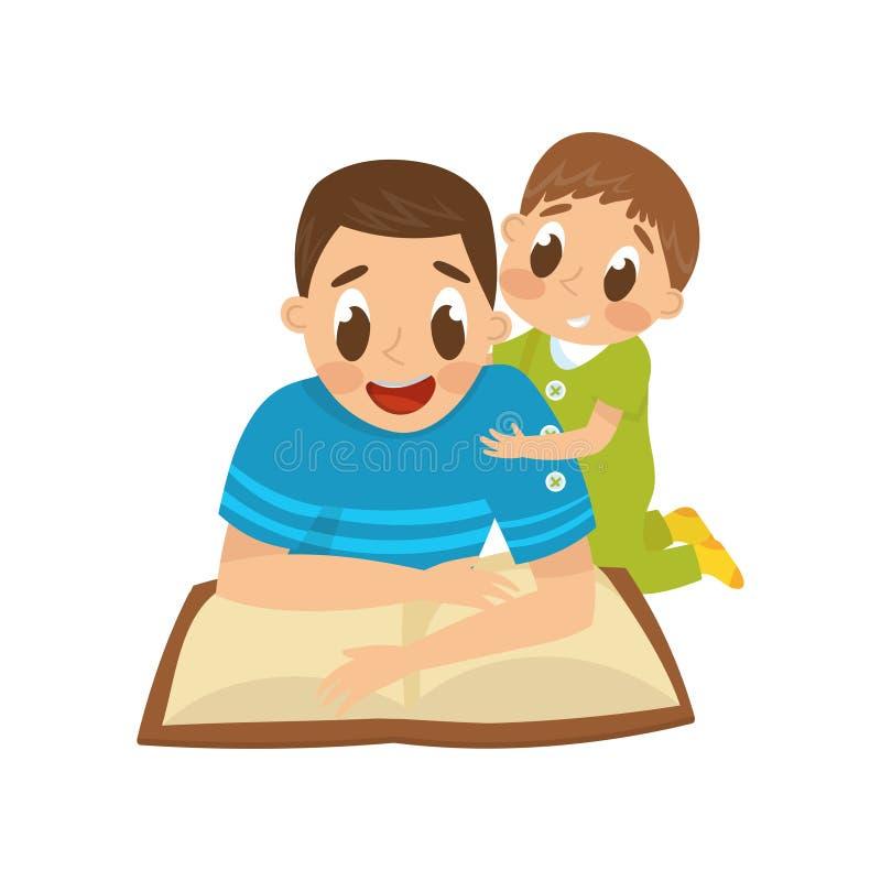 Papá que lee un libro a su pequeño hijo, familia, ejemplo temprano del vector del concepto del desarrollo en un fondo blanco stock de ilustración