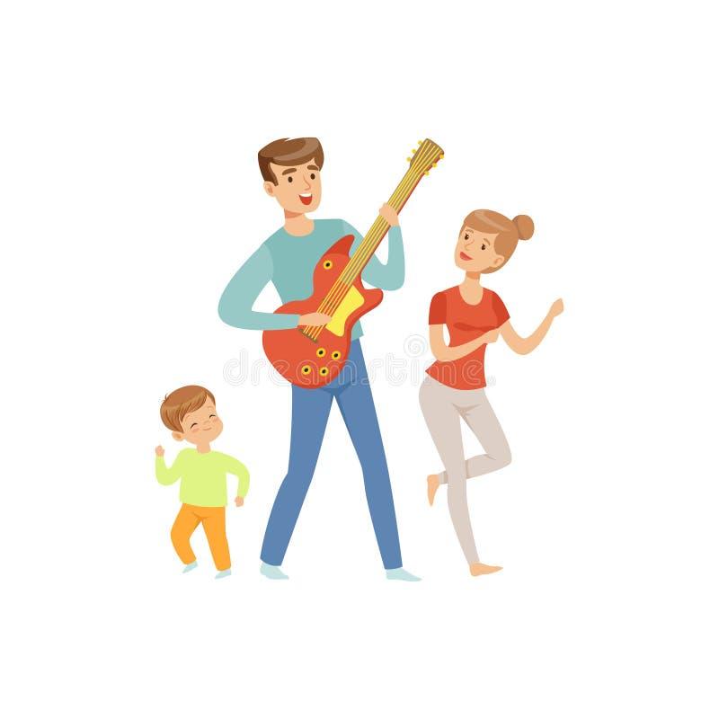 Papá que toca la guitarra mientras que su baile del hijo y de la esposa, la familia feliz y el concepto del parenting vector el e libre illustration