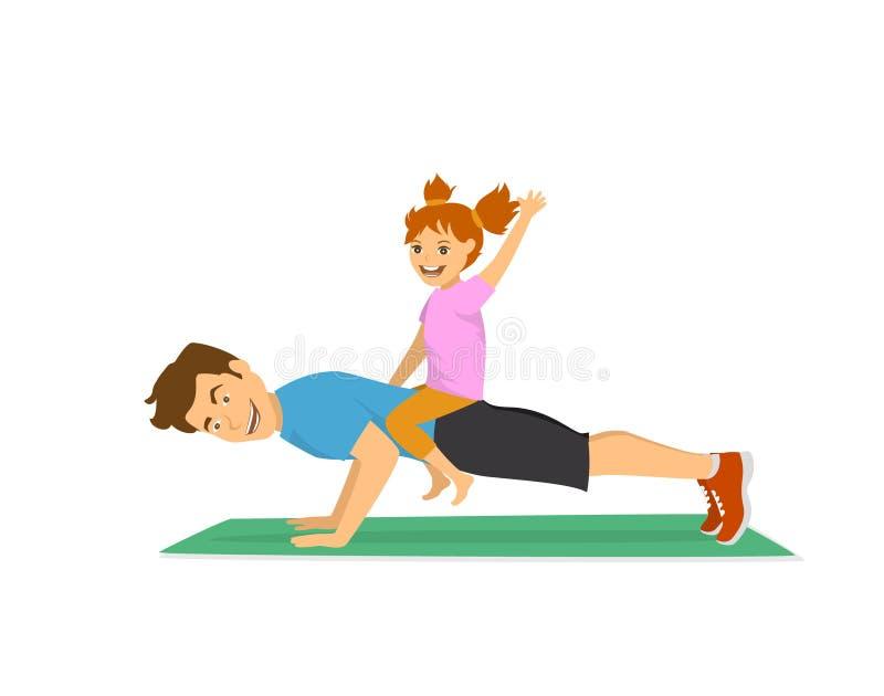Papá y niño que se divierten que entrena junto, padre alegre feliz que hace pectorales ilustración del vector