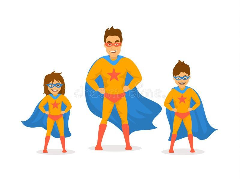 Papá y niños, muchacho lindo y muchacha jugando a los super héroes, vestidos en trajes del superhéroe libre illustration