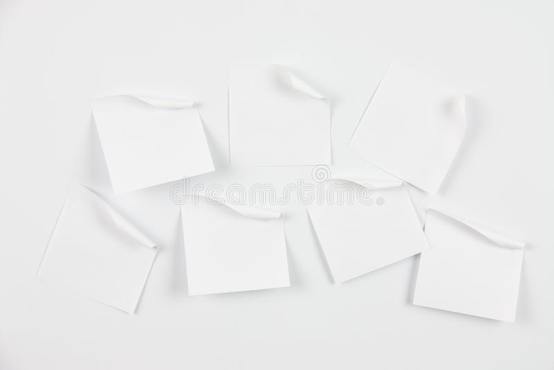 Papéis de nota brancos foto de stock