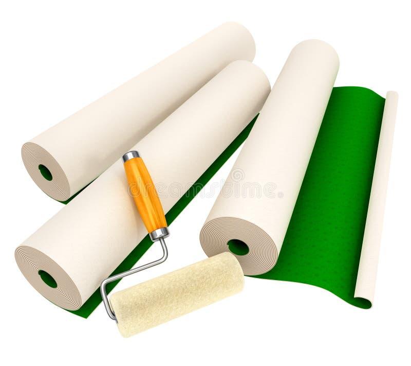 Papéis de parede e ferramenta do rolo para a reparação da casa ilustração stock