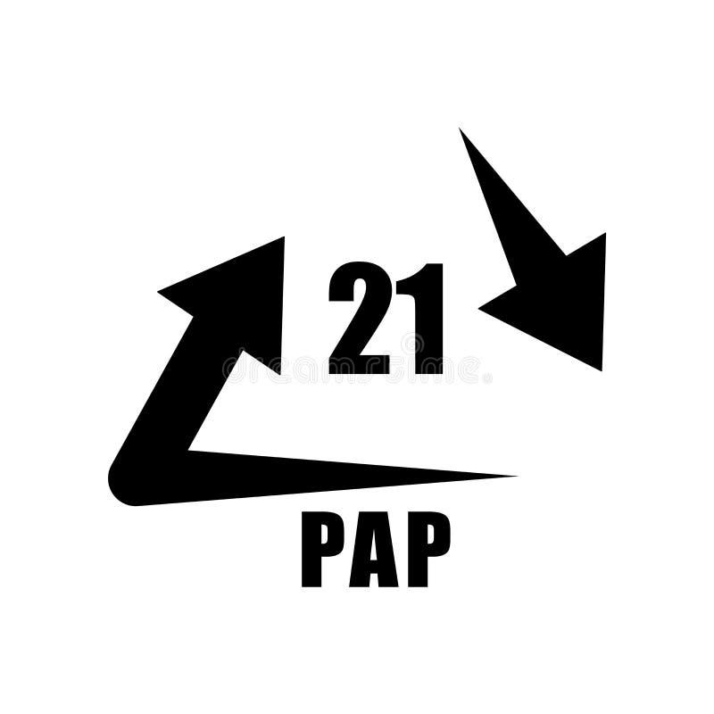 21 PAP在白色背景隔绝的象传染媒介,21 PAP标志,w 向量例证