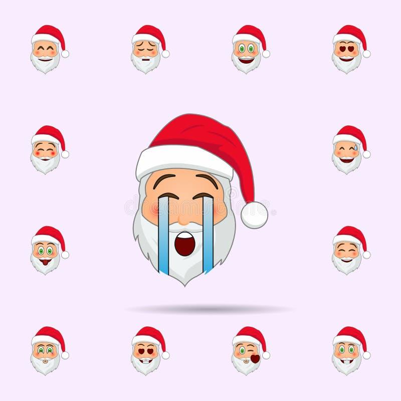 Pap? Noel en icono del emoji del grito Sistema universal de los iconos de Pap? Noel Emoji para la web y el m?vil ilustración del vector