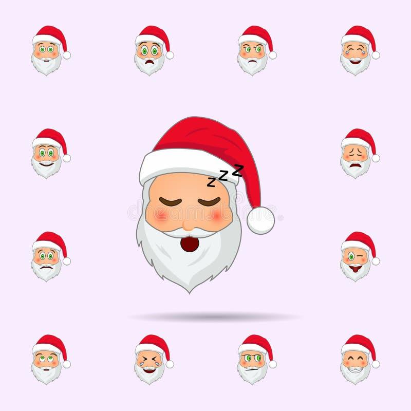 Pap? Noel en icono dormido del emoji Sistema universal de los iconos de Pap? Noel Emoji para la web y el m?vil stock de ilustración