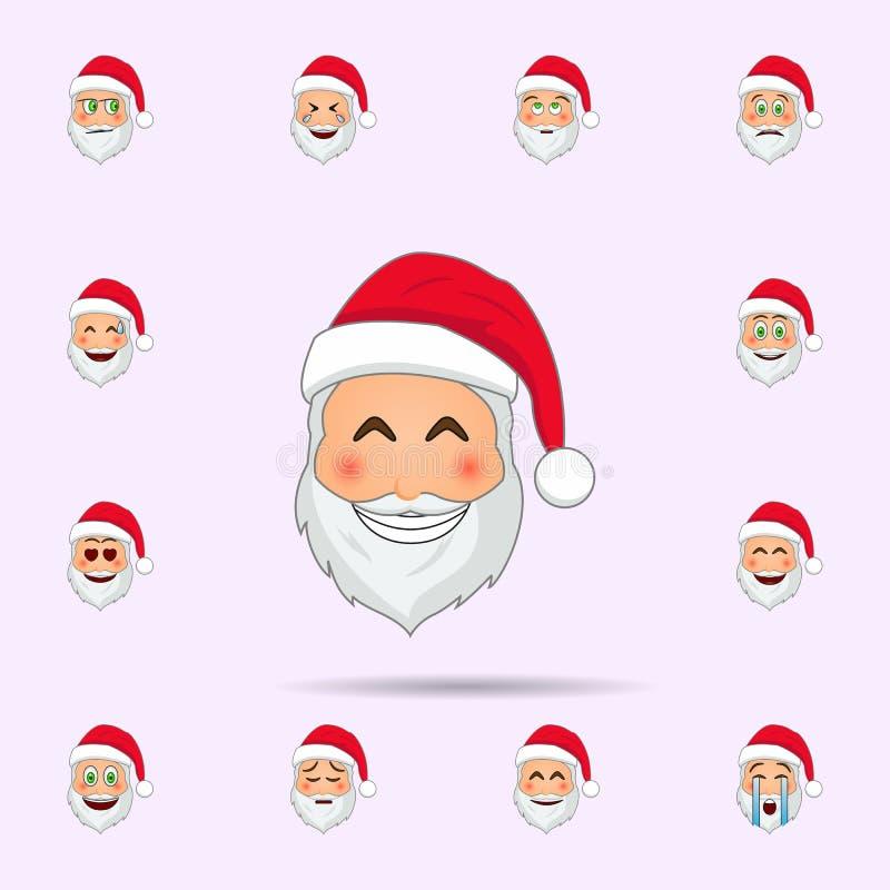 Pap? Noel en icono feliz del emoji Sistema universal de los iconos de Pap? Noel Emoji para la web y el m?vil libre illustration