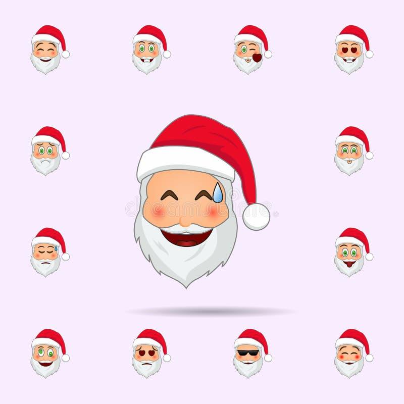 Pap? Noel en ojos con el icono del emoji de los corazones Sistema universal de los iconos de Pap? Noel Emoji para la web y el m?v ilustración del vector