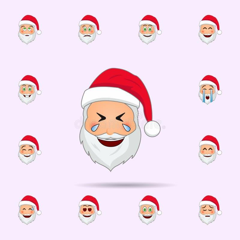 Pap? Noel en rasgones del icono del emoji de la felicidad Sistema universal de los iconos de Pap? Noel Emoji para la web y el m?v ilustración del vector