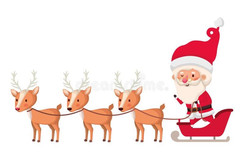 Pap? Noel en trineo con el car?cter del avatar del reno stock de ilustración