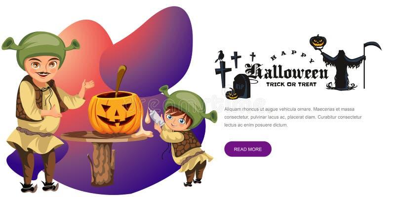 Papa avec le fils faisant l'affiche de potiron de Halloween illustration stock