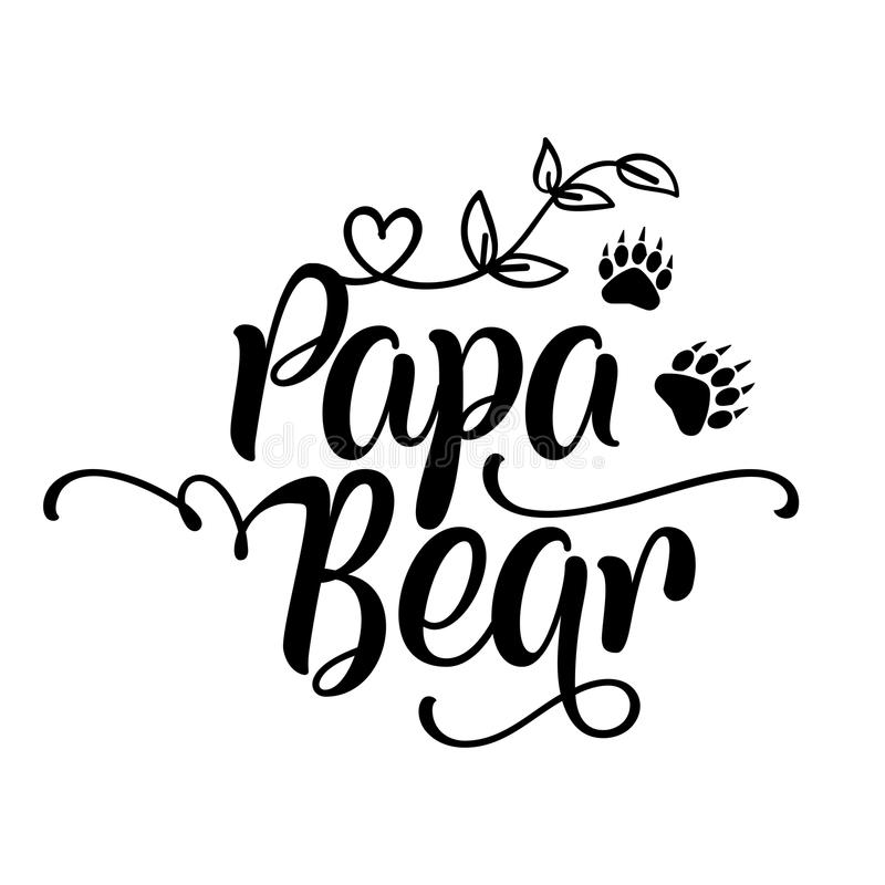 Papa Bear - handgjord kalligrafi royaltyfri illustrationer