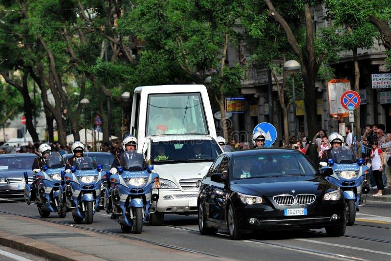 Papa Benedict XVI em Milão em junho, ø 2012 foto de stock royalty free